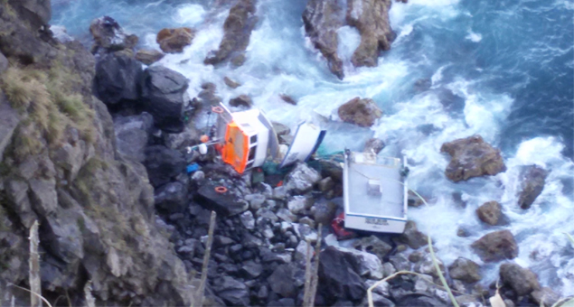 Ilha de São Miguel // Tripulantes de embarcação de pesca saem ilesos após encalhe