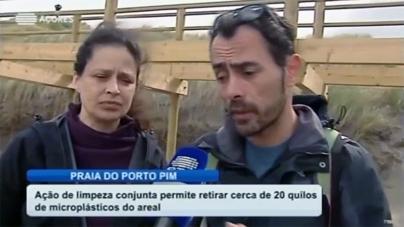 Ação de limpeza na praia do Porto Pim (vídeo)