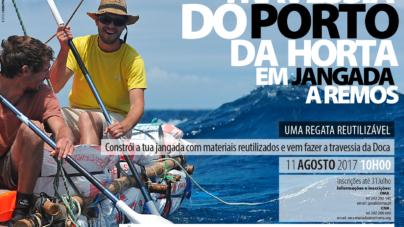 Travessia do Porto da Horta em jangada a remos