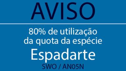 Aviso de 80% de utilização da quota da espécie: Espadarte (SWO / AN05N)