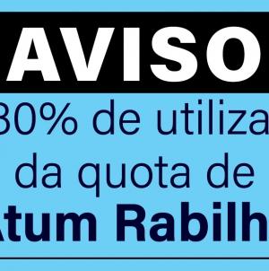 Aviso de utilização de 80% da quota de atum Rabilho